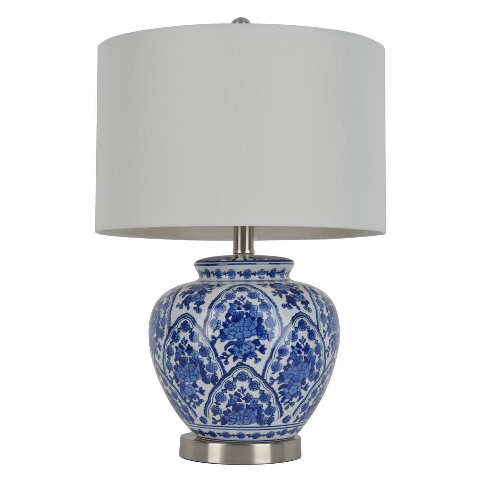 Decor Therapy 20 In Blue And White Table Lamp With Cotton Shade