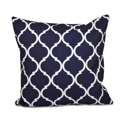 French Quarter Navy Blue Geometric 16 in. x 16 in. Throw Pillow