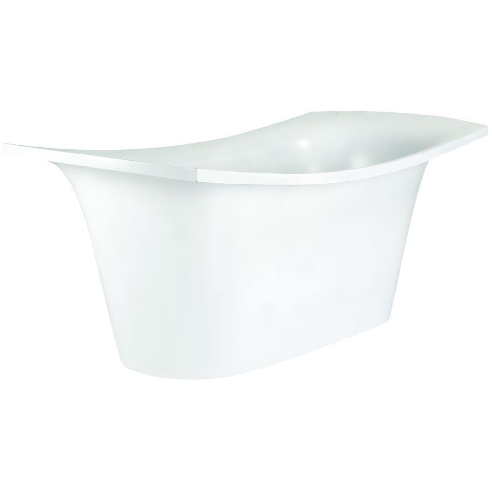 Aquatica LoveMe 5.9 ft. EcoMarmor Double Slipper Flatbottom Non-Whirpool Bathtub in White