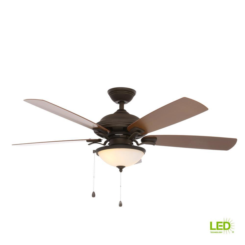 North Lake 52 in. LED Indoor/Outdoor Oil Rubbed Bronze Ceiling Fan