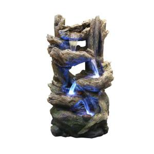Alpine Flowing Fountain with LED Light by Alpine