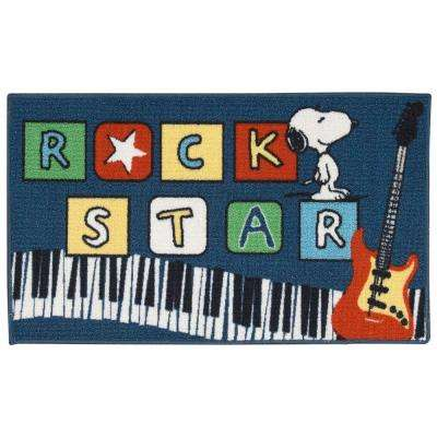 Friends Rock Star Navy 1 ft. 6 in. x 2 ft. 6 in. Accent Rug