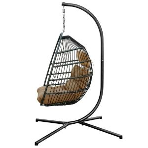 Belle Outdoor Patio Rattan Effect 4-Corners Single Swing Hanging Egg Chair with Brown Cushion