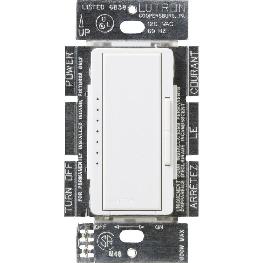 Maestro 600-Watt Multi-Location Electronic Low-Voltage Digital Dimmer - White