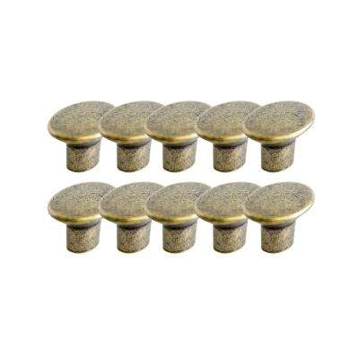 Mesa 1-7/16 in. Antique Brass Cabinet Hardware Knob Value Pack (10 per Pack)