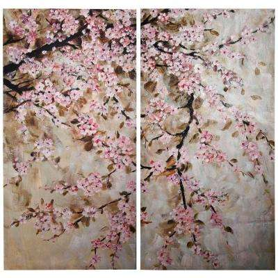 Elise 19.5 in. x 39.5 in. Decorative Cherry Blossom Wall Hangings (2-Pack)