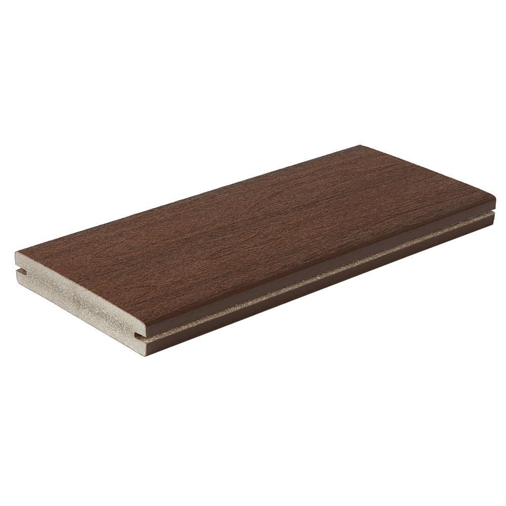 Fiberon Symmetry 1 in. x 5-2/5 in. x 1 ft. Burnt Umber Grooved Edge Capped Composite Decking Board Sample