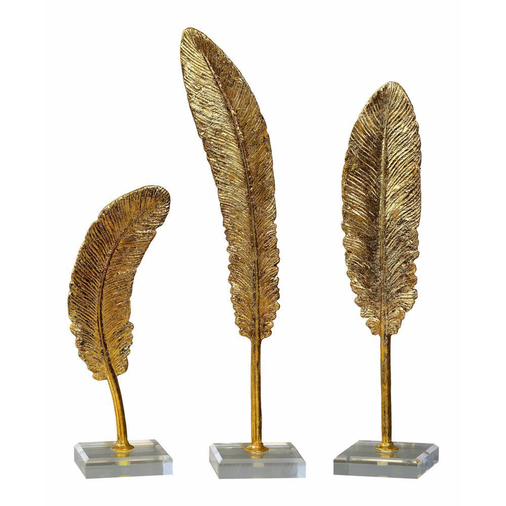 Feather Sculptures in Metallic Gold (Set of 3)