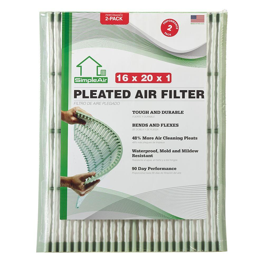 SimpleAir 16 in. x 20 in. x 1 in. Pleated FPR 7 Air Filter (2-Pack)