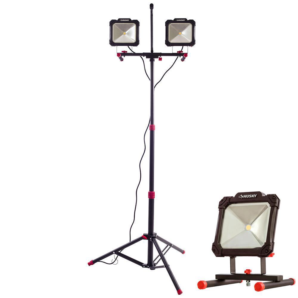 All Pro 5000 Lumen 2 Head Led Stand Work Light Wlt5040lst: Husky 5000 Lumen Twin-Head LED Work Light And 3500 Lumen