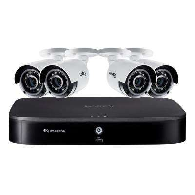 8-Channel 4K DVR Wired Surveillance System with 2TB and 4 4K wired Cameras