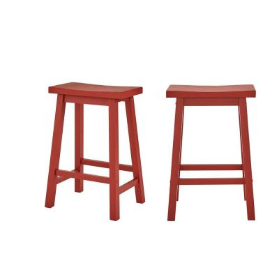 StyleWell Chili Red Wood Saddle Backless Counter Stool (Set of 2) (16.33 in. W x 24 in. H)