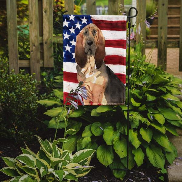 Caroline S Treasures 0 91 Ft X 1 29 Ft Polyester Patriotic Usa Bloodhound 2 Sided 2 Ply Garden Flag Ck1739gf The Home Depot