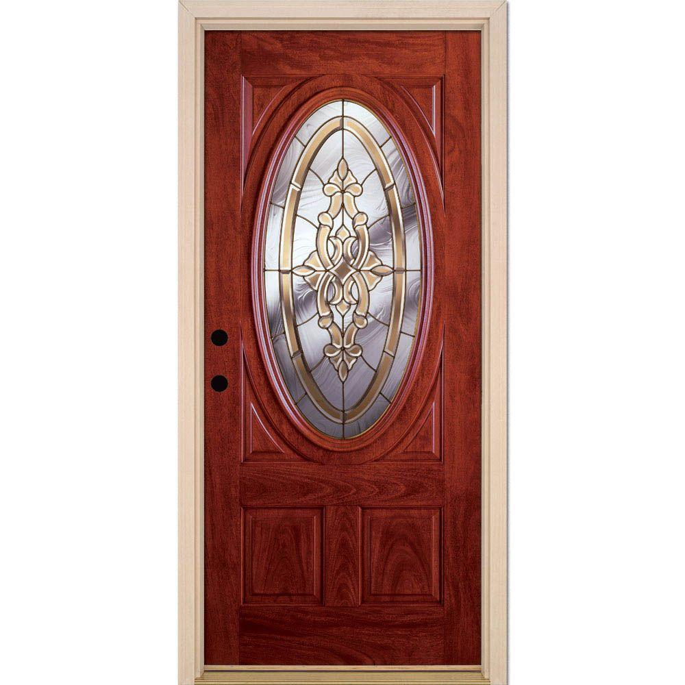Feather River Doors 37 5 In X 81 625 In Silverdale Brass 3 4 Oval Lite Stained Cherry Mahogany Right Hand Fiberglass Prehung Front Door C11505 The Home Depot
