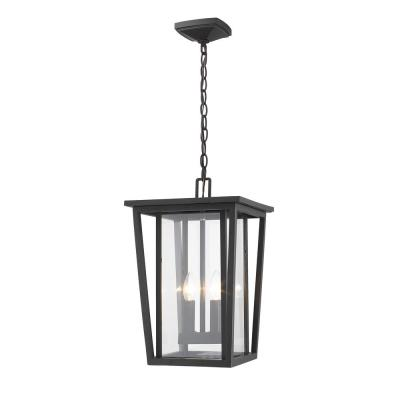 2-Light Oil Rubbed Bronze Outdoor Pendant Light with Clear Glass Shade