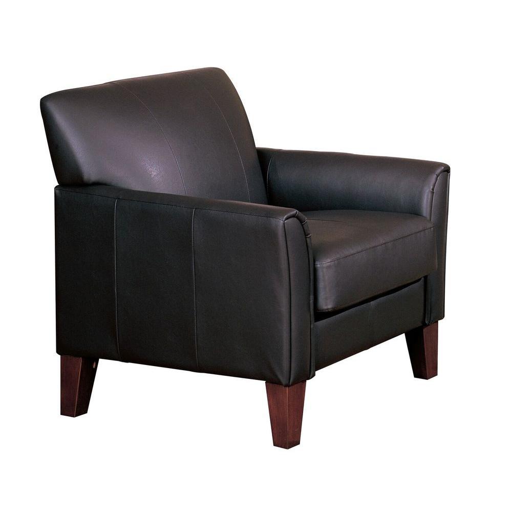 HomeSullivan Durham Dark Brown Faux Leather Arm Chair wit...