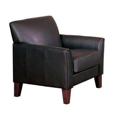 Durham Dark Brown Faux Leather Arm Chair with Ottoman