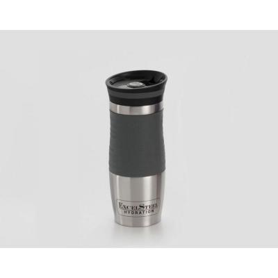 14 oz. Grey Double Walled Stainless Steel Coffee Tumbler with Silicone Grip