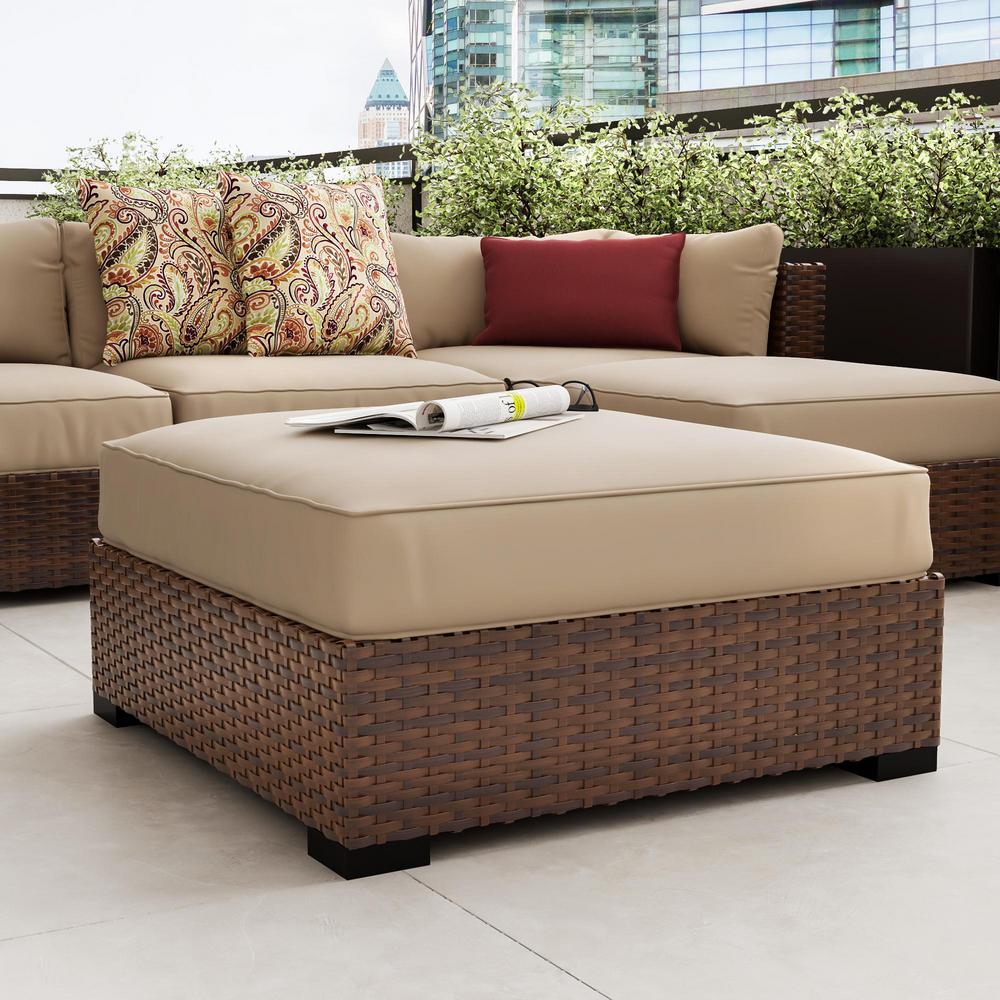 Commercial Grade Outdoor Patio Ottoman Cushion in Sunbrella Canvas Antique Beige