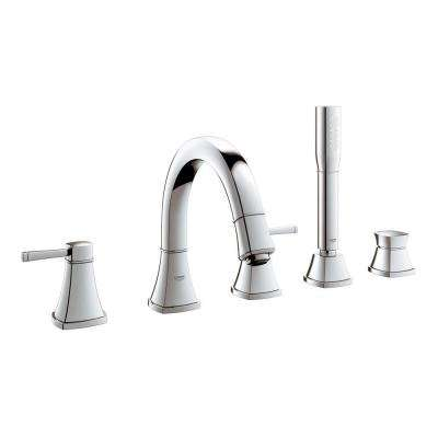 Grandera 2-Handle Deck-Mount Roman Bathtub Faucet with Personal Handheld Shower in StarLight Chrome