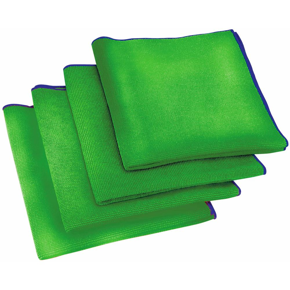 16 in. x 16 in. Green Antimicrobial Microfiber Cloth (24-pack)