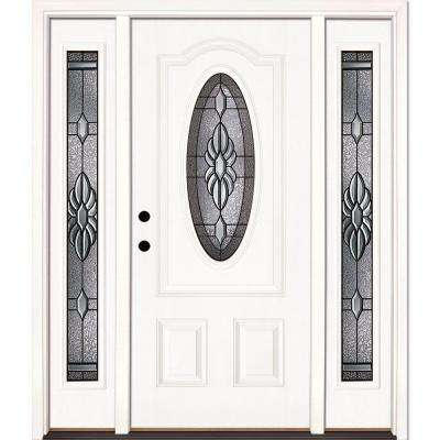 home depot white doors. 63 5 in x81 625  Sapphire Patina 3 4 Oval Lt Unfinished White Front Doors Exterior The Home Depot