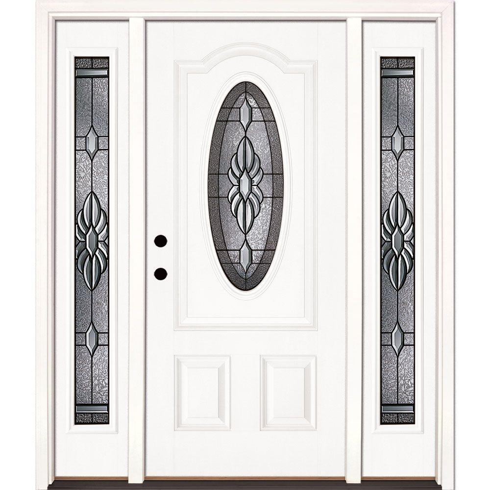 Feather river doors 67 5 in sapphire patina 3 for Prehung exterior doors with storm door
