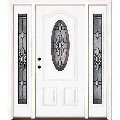 63.5 in.x81.625 in. Sapphire Patina 3/4 Oval Lt Unfinished Smooth Right-Hand Fiberglass Prehung Front Door w/ Sidelites