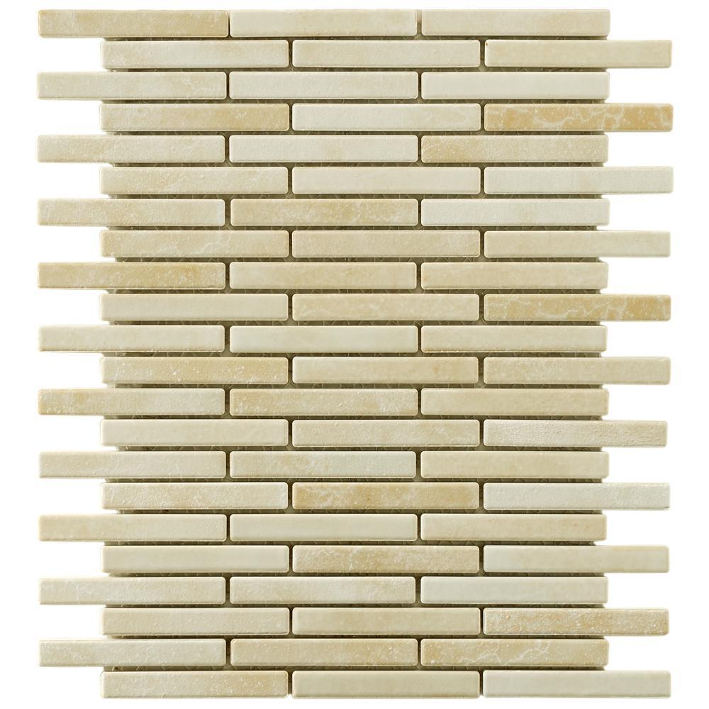 Merola Tile Rustica Brick Perla Bone 10-3/4 in. x 12-3/4 in. x 8 mm Porcelain Mosaic Tile