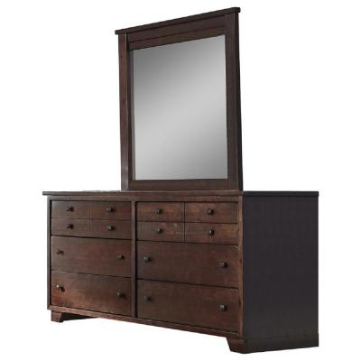 Diego 6-Drawer Espresso Pine Dresser with Mirror
