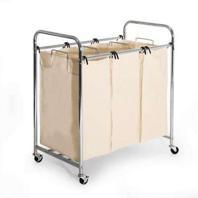 Mobile 3-Bag Heavy-Duty Laundry Hamper Sorter Cart