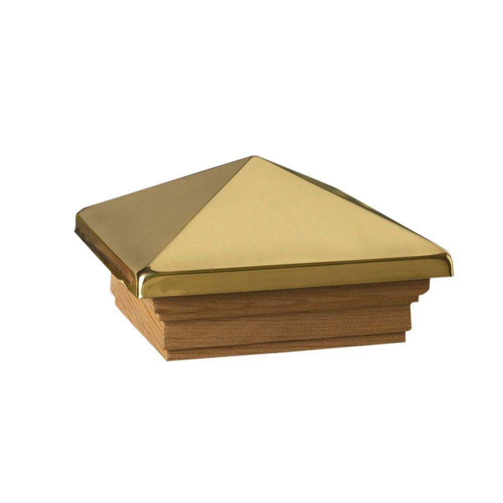 DeckoRail Verona 4 in. x 4 in. Polished Brass Metal High Point Pyramid Post Cap