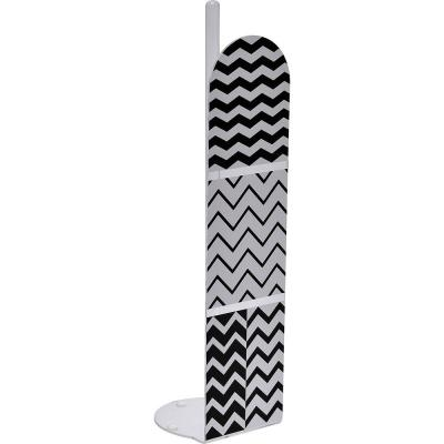 Zigzag Printed Freestanding Toilet Paper Holder Paper Roll Holder Reserve 4-Rolls in 100% Acrylic Black And White