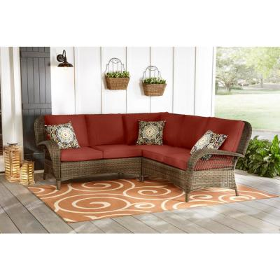Beacon Park 3-Piece Brown Wicker Outdoor Patio Sectional Sofa with Sunbrella Henna Red Cushions