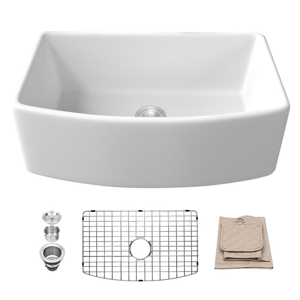 Fireclay 30 in. Single Bowl Farmhouse Kitchen Sink