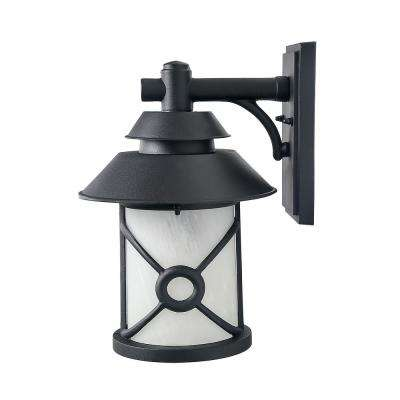 1-Light Iron Black Outdoor Wall Mount Lantern with Frosted Glass