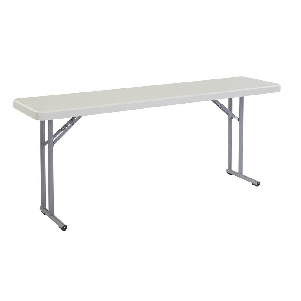 National Public Seating 72 in  Grey Plastic Smooth Surface Folding Seminar  Table