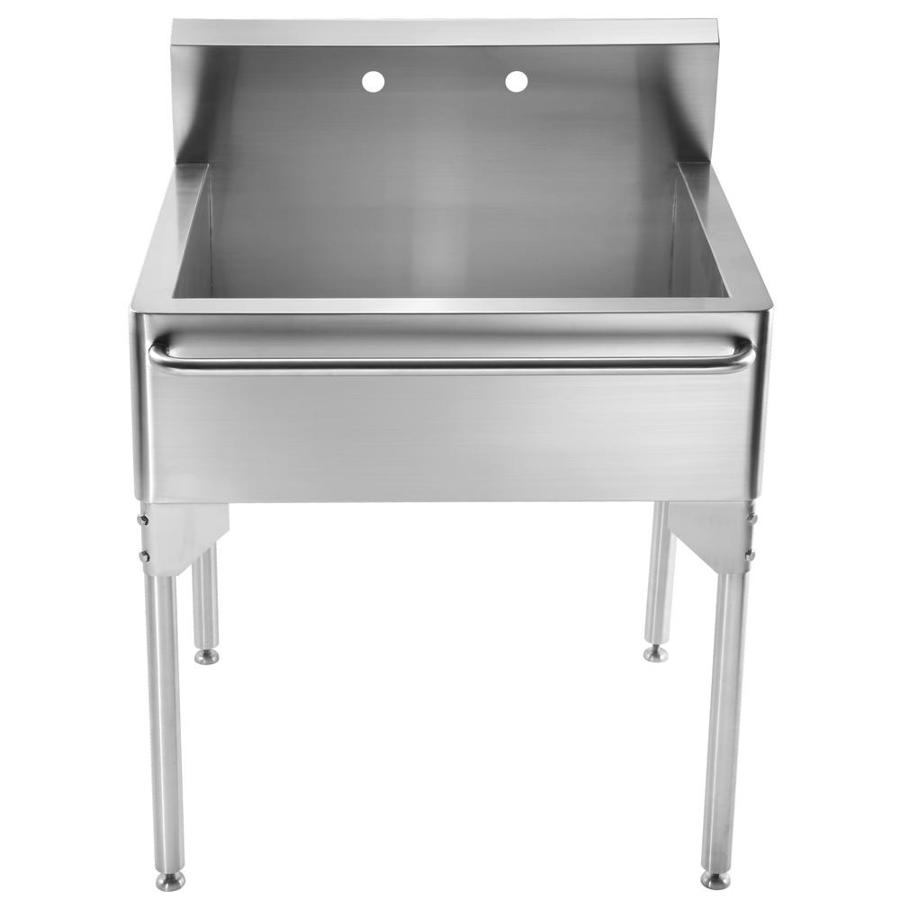 Whitehaus Collection Pearlhaus All-in-One Freestanding Stainless Steel 30 in. 2-Hole Single Bowl Kitchen Sink in Brushed Stainless Steel