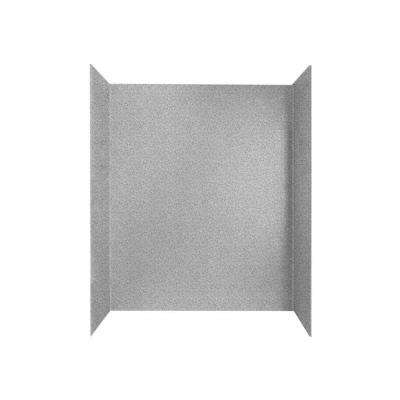 30 in. x 60 in. x 60 in. 3-Piece Easy Up Adhesive Tub Wall in Gray Granite
