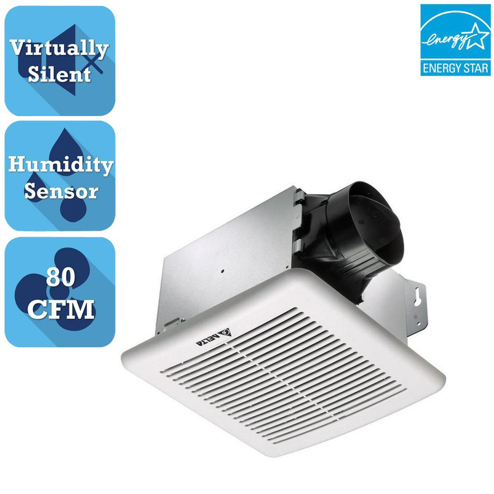 Delta breez greenbuilder g2 series 80 cfm ceiling bathroom exhaust fan with adjustable humidity Humidity activated bathroom fan