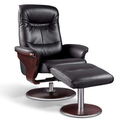Milano Modern Bend Wood Black Leather Swivel Recliner with Ottoman set