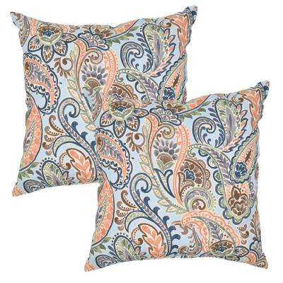 Surplus Paisley Square Outdoor Throw Pillow (2-Pack)