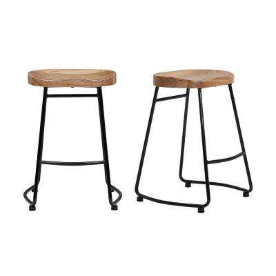StyleWell Black Metal Backless Counter Stool with Wood Seat (Set of 2) (18.5 in. W x 24 in. H)