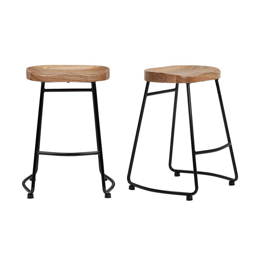 StyleWell Black Metal Backless Counter Stool with Wood Seat (Set of 2) (18.5 in. W x 24 in. H), Natural/Black was $179.0 now $107.4 (40.0% off)