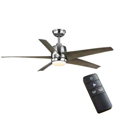 Mara 54 in. White Color Changing Integrated LED Indoor/Outdoor Polished Nickel Ceiling Fan with Light and Remote Control
