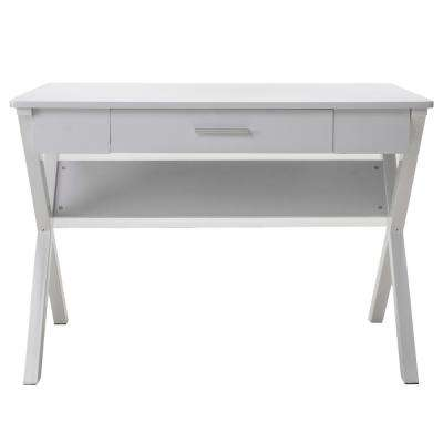 Kappa White Wood and Metal Computer Table with Drawer