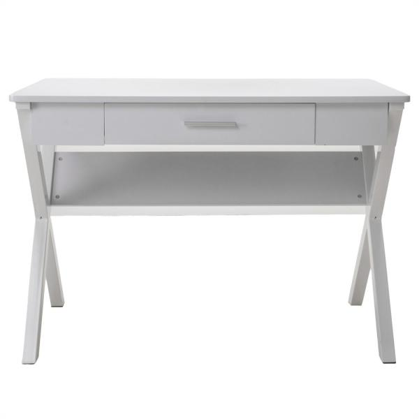 Noble House Kappa White Wood and Metal Computer Table with Drawer