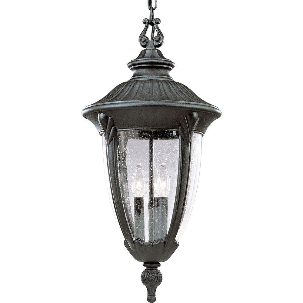 Progress Lighting Meridian Collection 3-Light Textured Black Outdoor Wall Lantern