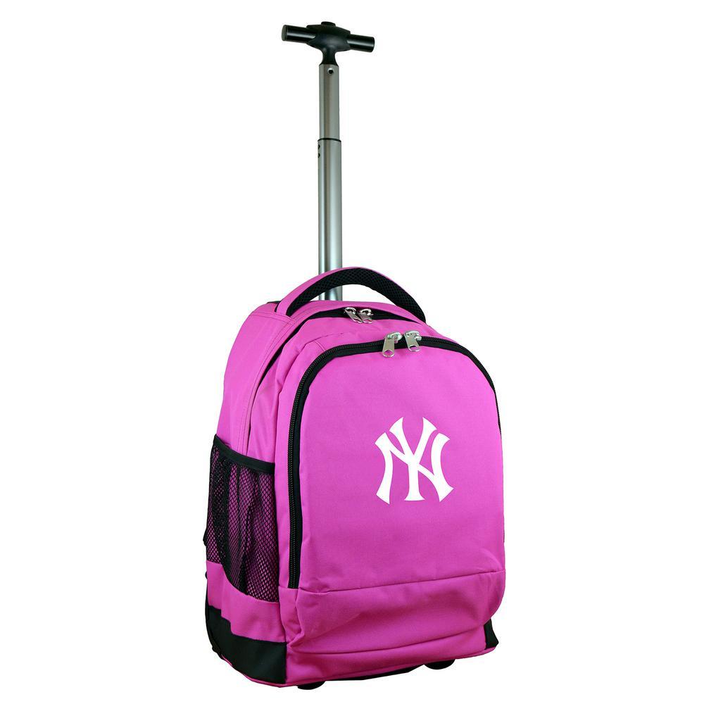 00379f542e Denco MLB New York Yankees 19 in. Pink Wheeled Premium Backpack-MLYKL780 PK  - The Home Depot