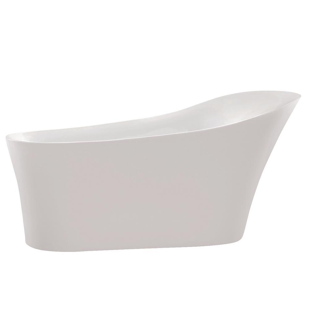 ANZZI Maple 5.58 ft. Acrylic Flatbottom Non-Whirlpool Bathtub in White